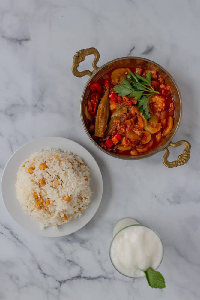 Mediterranean vegetable stew with Turkish rice pilaf and ayran (frothy yogurt drink).