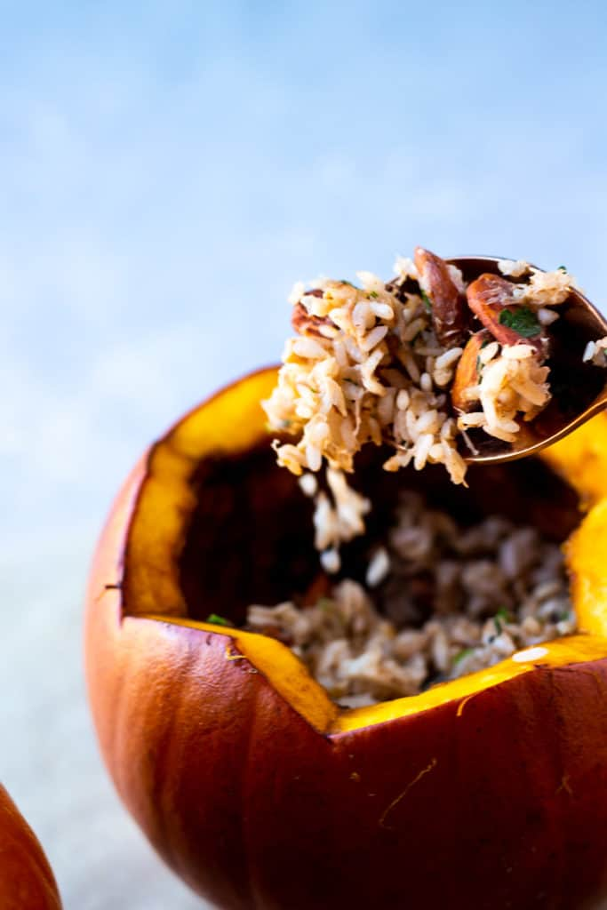 Vegan Rice Stuffed Pumpkin